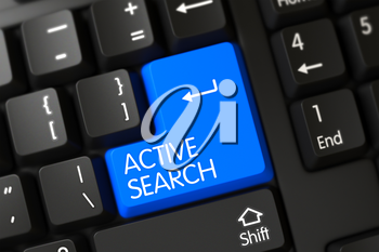 Active Search Concept: Modern Keyboard with Active Search on Blue Enter Key Background, Selected Focus. Modern Laptop Keyboard with the words Active Search on Blue Key. 3D Illustration.