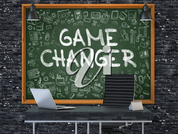 Green Chalkboard on the Dark Brick Wall in the Interior of a Modern Office with Hand Drawn Game Changer. Business Concept with Doodle Style Elements. 3D.