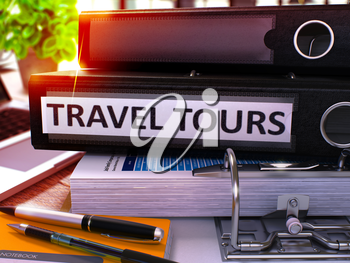Black Office Folder with Inscription Travel Tours on Office Desktop with Office Supplies and Modern Laptop. Travel Tours Business Concept on Blurred Background. Travel Tours - Toned Image. 3D.