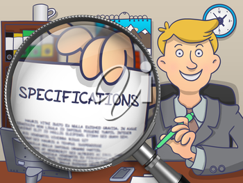 Specifications. Stylish Man Welcomes in Office and Showing Text on Paper through Lens. Colored Doodle Style Illustration.