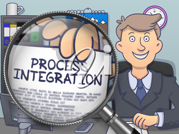 Process Integration. Text on Paper in Businessman's Hand through Magnifying Glass. Multicolor Doodle Style Illustration.