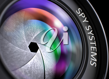 Spy Systems Written on Front of Lens with Shutter. Colorful Lens Reflections. Closeup View. Spy Systems - Concept on Lens of Camera with Colored Lens Reflection, Closeup. 3D.