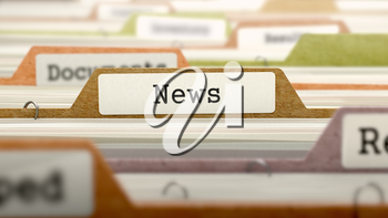 Folder in Colored Catalog Marked as News Closeup View. Selective Focus. 3D Render.