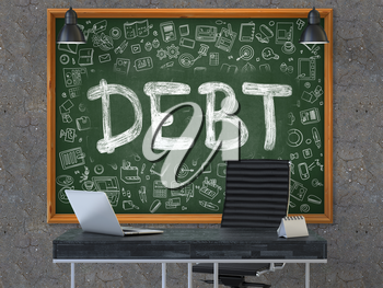 Green Chalkboard on the Dark Old Concrete Wall in the Interior of a Modern Office with Hand Drawn Debt. Business Concept with Doodle Style Elements. 3D.