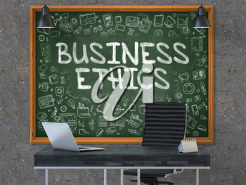 Business Ethics - Hand Drawn on Green Chalkboard in Modern Office Workplace. Illustration with Doodle Design Elements. 3D.