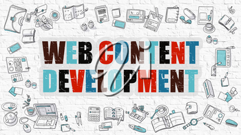 Web Content Development - Multicolor Concept with Doodle Icons Around on White Brick Wall Background. Modern Illustration with Elements of Doodle Design Style.