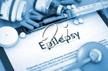 Epilepsy, Medical Concept with Selective Focus. Diagnosis - Epilepsy On Background of Medicaments Composition - Pills, Injections and Syringe. 3D.