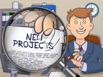 Businessman Holding a Paper with Concept New Projects. Closeup View through Magnifying Glass. Multicolor Doodle Illustration.