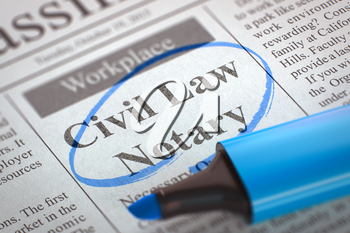 Newspaper with Small Advertising Civil Law Notary. Civil Law Notary - Vacancy in Newspaper, Circled with a Blue Highlighter. Blurred Image. Selective focus. Concept of Recruitment. 3D Rendering.
