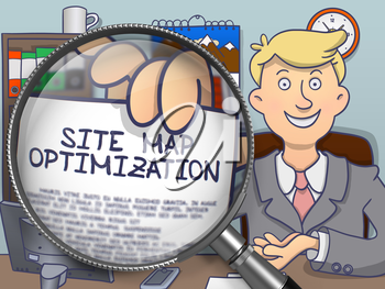 Site Map Optimization on Paper in Businessman's Hand to Illustrate a eBusiness Concept. Closeup View through Magnifying Glass. Multicolor Modern Line Illustration in Doodle Style.