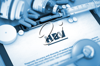 HBV - Medical Report with Composition of Medicaments - Pills, Injections and Syringe. HBV - Printed Diagnosis with Blurred Text. HBV, Medical Concept with Selective Focus. 3D Render.