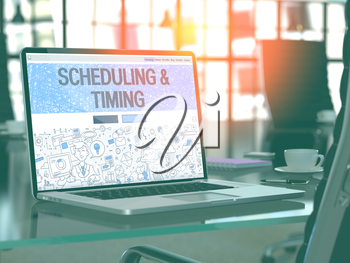 Scheduling and Timing Concept Closeup on Landing Page of Laptop Screen in Modern Office Workplace. Toned Image with Selective Focus. 3D Render.