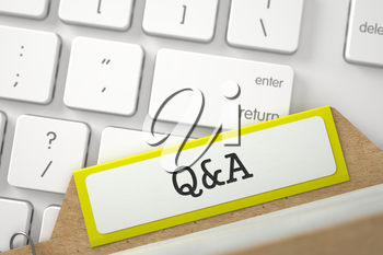 Q&A written on Yellow Card Index Concept on Background of White PC Keyboard. Business Concept. Close Up View. Selective Focus. 3D Rendering.
