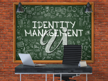 Green Chalkboard with the Text Identity Management Hangs on the Red Brick Wall in the Interior of a Modern Office. Illustration with Doodle Style Elements. 3D.