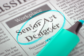 Senior Art Designer - Jobs in Newspaper, Circled with a Azure Highlighter. Blurred Image. Selective focus. Concept of Recruitment. 3D Render.