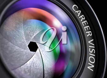 Closeup Photo Lens with Pink and Orange Reflection and Inscription Career Vision. Career Vision Concept. Closeup of a Photographic Lens with Beautiful Color Lights Reflections. 3D Render.
