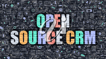 Open Source CRM - Customer Relationship Management. Multicolor Inscription on Dark Wall with Doodle Design Icons. Open Source CRM Concept in Modern Style. Open Source CRM on Dark Brickwall Background.