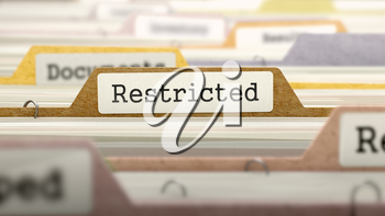 Restricted Concept. Colored Document Folders Sorted for Catalog. Closeup View. Selective Focus. 3D Render.