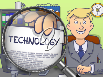Technology. Paper with Inscription in Businessman's Hand through Magnifier. Multicolor Modern Line Illustration in Doodle Style.