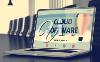 Cloud Software - Landing Page with Inscription on Laptop Screen on Background of Comfortable Conference Hall in Modern Office. Closeup View. Toned Image. Selective Focus. 3D Illustration.