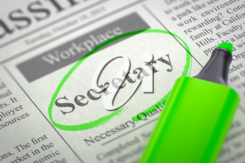 Secretary - Small Ads of Job Search in Newspaper, Circled with a Green Marker. Blurred Image. Selective focus. Job Seeking Concept. 3D Illustration.