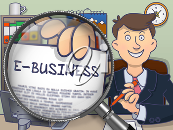 E-Business.  Man in Office Workplace Showing Paper with Text through Magnifying Glass. Multicolor Modern Line Illustration in Doodle Style.