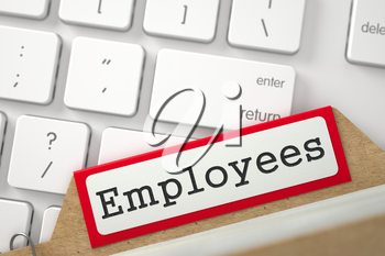 Employees written on Red File Card on Background of White PC Keypad. Business Concept. Closeup View. Blurred Illustration. 3D Rendering.