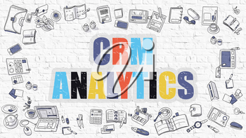 CRM - Customer Relationship Management - Analytics - Multicolor Concept with Doodle Icons Around on White Brick Wall Background. Modern Illustration with Elements of Doodle Design Style.