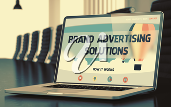 Brand Advertising Solutions on Landing Page of Laptop Screen. Closeup View. Modern Conference Hall Background. Toned. Blurred Image. 3D Illustration.