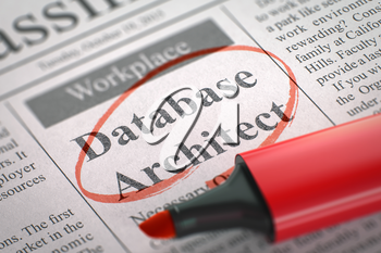 Database Architect. Newspaper with the Advertisements and Classifieds Ads for Vacancy, Circled with a Red Marker. Blurred Image. Selective focus. Job Seeking Concept. 3D Illustration.