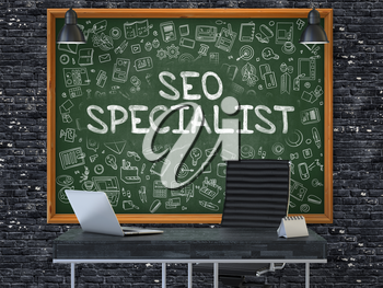SEO - Search Engine Optimization - Specialist Concept Handwritten on Green Chalkboard with Doodle Icons. Office Interior with Modern Workplace. Dark Brick Wall Background. 3D.