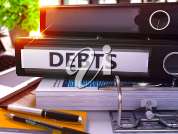 Debts - Black Office Folder on Background of Working Table with Stationery and Laptop. Debts Business Concept on Blurred Background. Debts Toned Image. 3D.