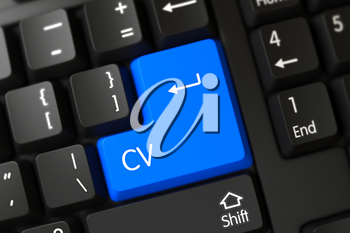 Computer Keyboard Keypad Labeled CV. 3D Illustration.