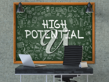 High Potential - Hand Drawn on Green Chalkboard in Modern Office Workplace. Illustration with Doodle Design Elements. 3D.