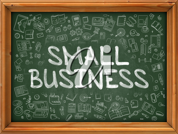 Green Chalkboard with Hand Drawn Small Business with Doodle Icons Around. Line Style Illustration.