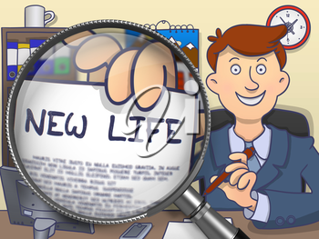 New Life. Man Sitting in Offiice and Holding a through Lens Paper with Text. Colored Doodle Illustration.