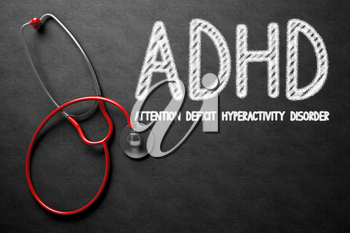 Medical Concept: ADHD - Attention Deficit Hyperactivity Disorder on Black Chalkboard. Medical Concept: ADHD - Attention Deficit Hyperactivity Disorder Handwritten on Black Chalkboard. 3D Rendering.