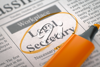 Legal Secretary - Job Vacancy in Newspaper, Circled with a Orange Highlighter. Blurred Image. Selective focus. Job Seeking Concept. 3D Render.