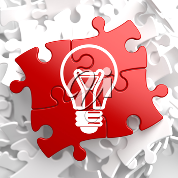 Royalty Free Clipart Image of a Light Bulb Jigsaw