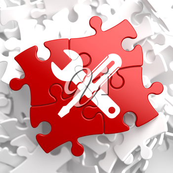 Royalty Free Clipart Image of a Puzzle Piece With Tools