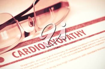 Cardiomyopathy - Medical Concept with Blurred Text and Specs on Red Background. Selective Focus. 3D Rendering.