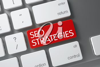 SEO Strategies Concept Slim Aluminum Keyboard with SEO Strategies on Red Enter Button Background, Selected Focus. 3D.