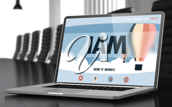 Modern Conference Hall with Laptop Showing Landing Page with Text Iam. Closeup View. Iam. Closeup Landing Page on Laptop Screen. Modern Conference Hall Background. Toned. Blurred Image. 3D.