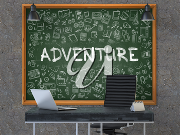 Adventure - Hand Drawn on Green Chalkboard in Modern Office Workplace. Illustration with Doodle Design Elements. 3D.