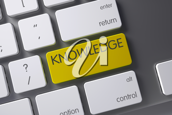 Knowledge Concept: Aluminum Keyboard with Knowledge, Selected Focus on Yellow Enter Button. 3D Illustration.