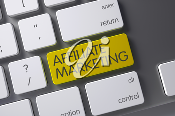 Affiliate Marketing Concept: White Keyboard with Affiliate Marketing, Selected Focus on Yellow Enter Button. 3D Illustration.
