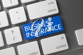 Concept of Business Insurance, with Business Insurance on Blue Enter Button on Modernized Keyboard. 3D.
