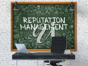 Reputation Management - Hand Drawn on Green Chalkboard in Modern Office Workplace. Illustration with Doodle Design Elements. 3D.