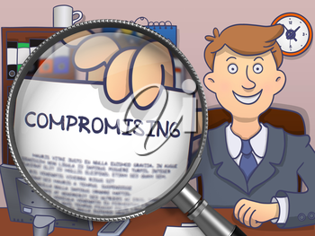 Compromising. Successful Businessman Welcomes in Office and Holding a Text on Paper through Magnifying Glass. Colored Modern Line Illustration in Doodle Style.