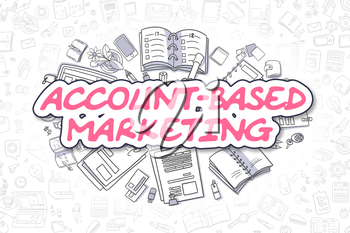 Magenta Text - Account-Based Marketing. Business Concept with Cartoon Icons. Account-Based Marketing - Hand Drawn Illustration for Web Banners and Printed Materials.